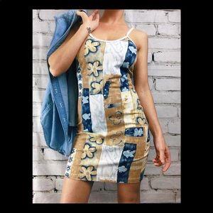 VINTAGE floral body con spaghetti strap mini dress
